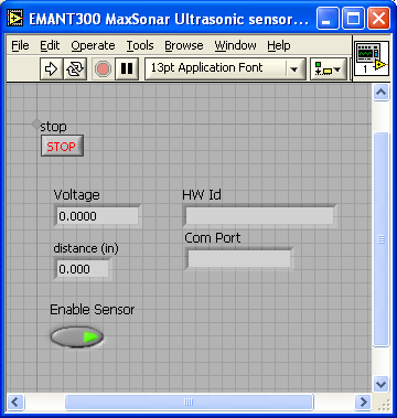 LabVIEW Front Panel Ultrasonic Sensor